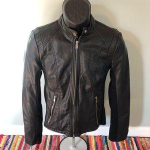Express Faux Leather Jacket Zipper Pockets Button
